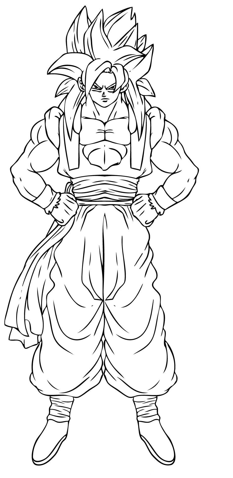 Dragon Ball Z Coloring Pages Goku Super Saiyan 3 Form