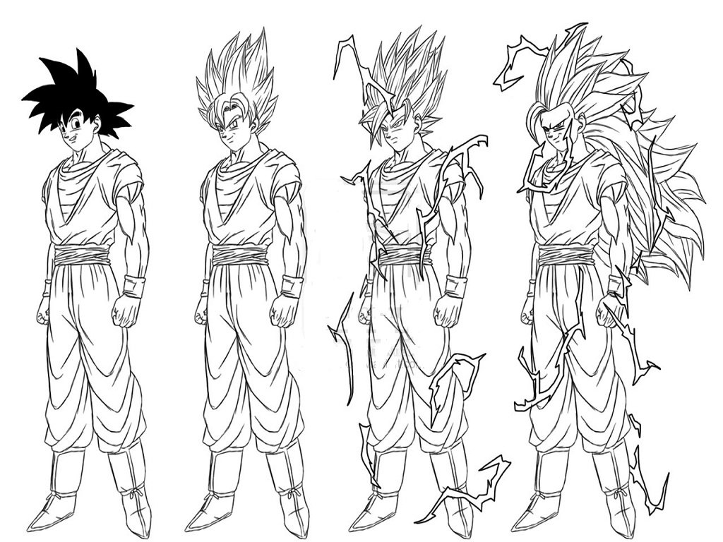 Dragon Ball Z Coloring Pages Goku Super Saiyan Form
