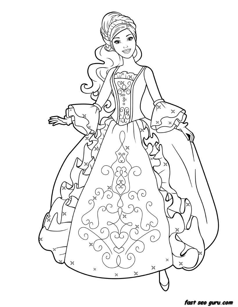 Drawing Barbie Princess Coloring Pages 33 About Remodel For Kids