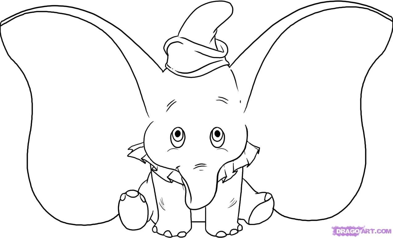 Drawing Of Disney Characters How To Draw Dumbo, Stepstep, Disney