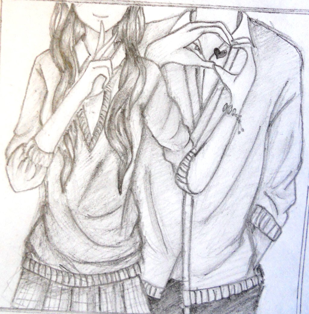 Easy Cute Anime Couple Drawings In Pencil