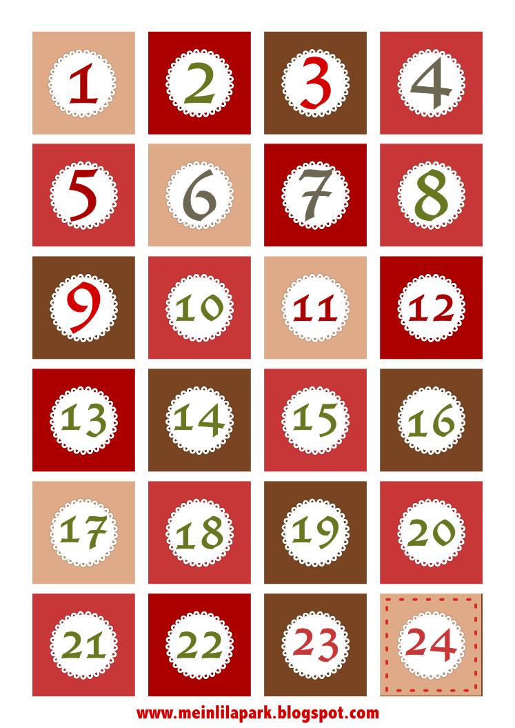 Free Printable Christmas Advent Calendar Numbers And Borders