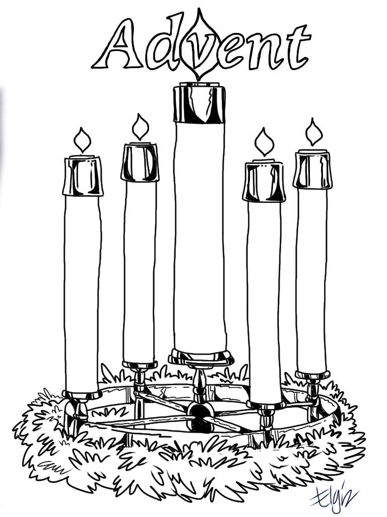 Elegant Advent Wreath Coloring Page 60 On Download Coloring Pages