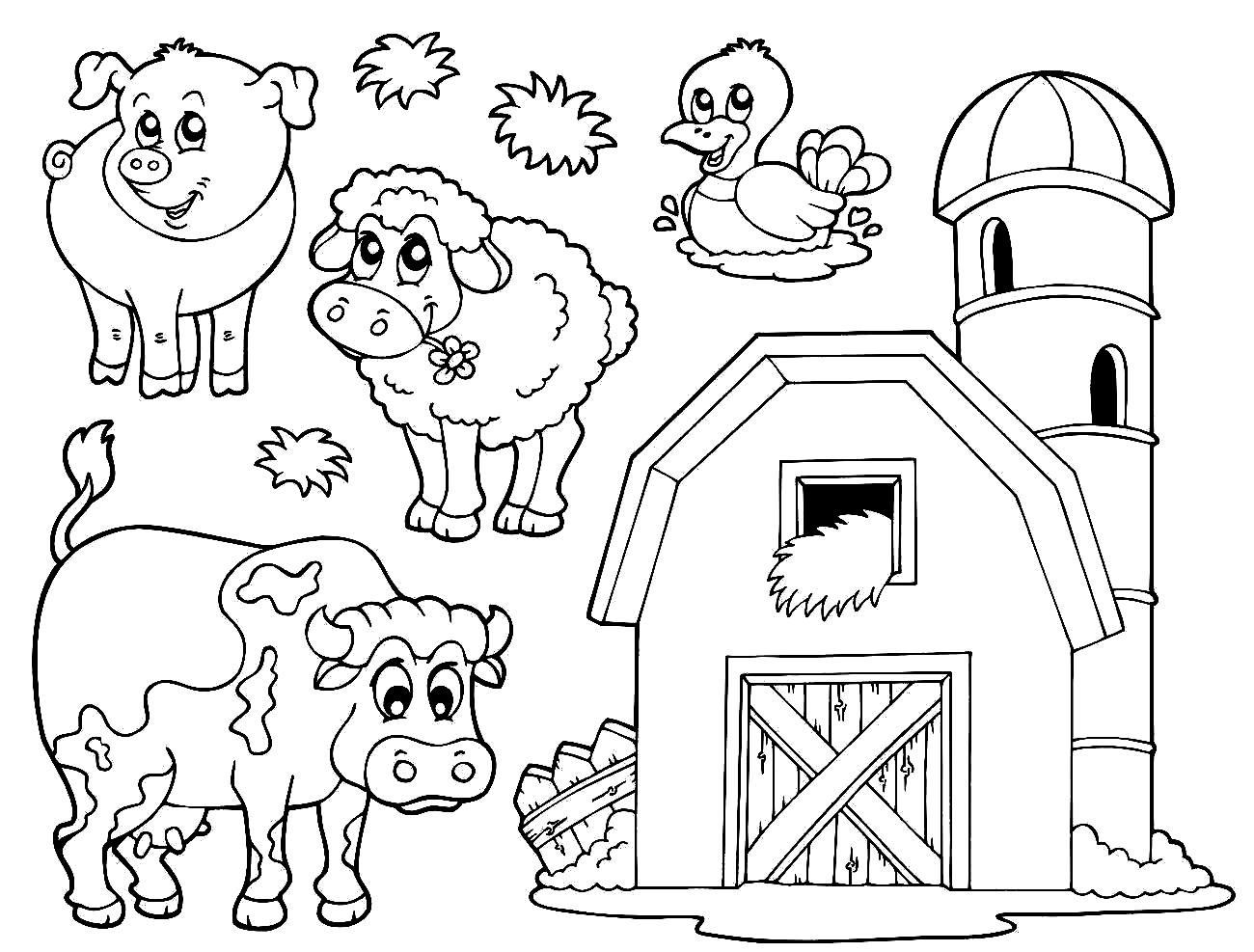 Farm Animals Colouring Sheets