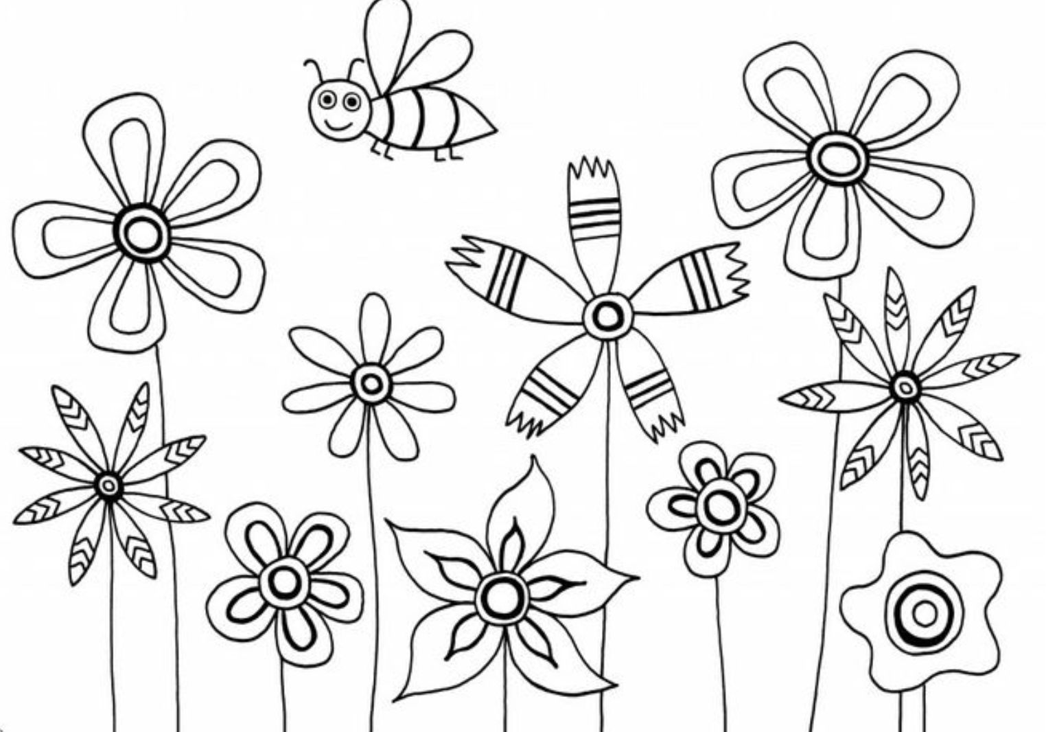 Flower Coloring Pages For Kids Printable Flowers To Color Inside