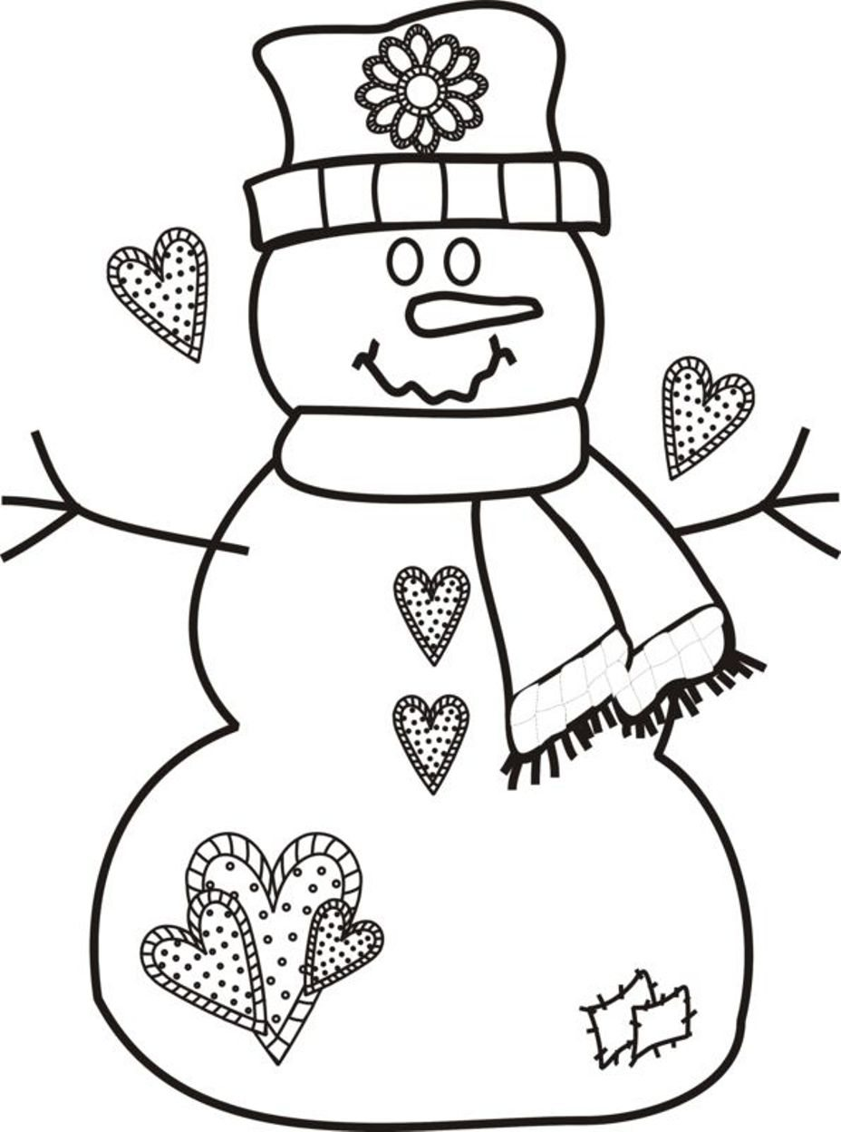 Free Christmas Coloring Pages Snowman Printable