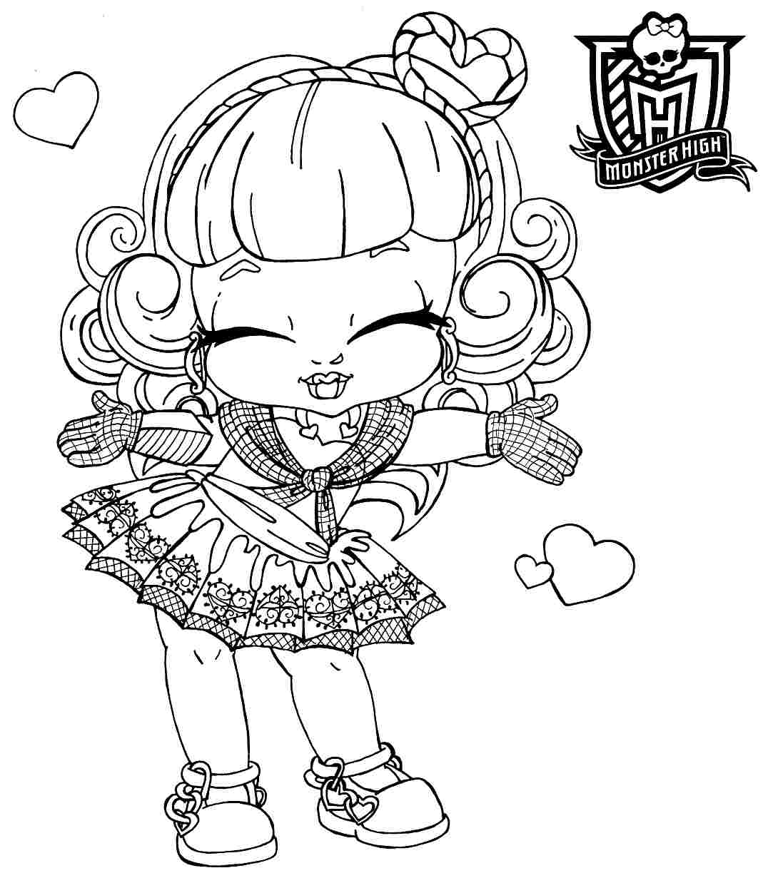 Free Monster High Baby Cartoon Monster High Girl Coloring Pages In