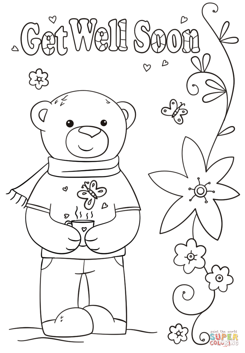 Funny Get Well Soon Coloring Page