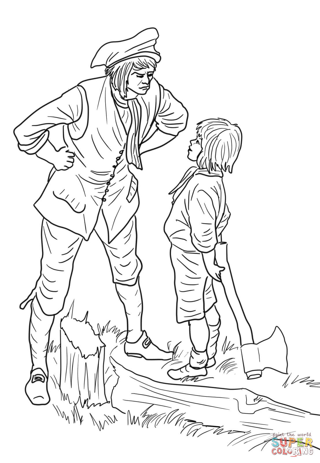 George Washington And The Cherry Tree Coloring Page