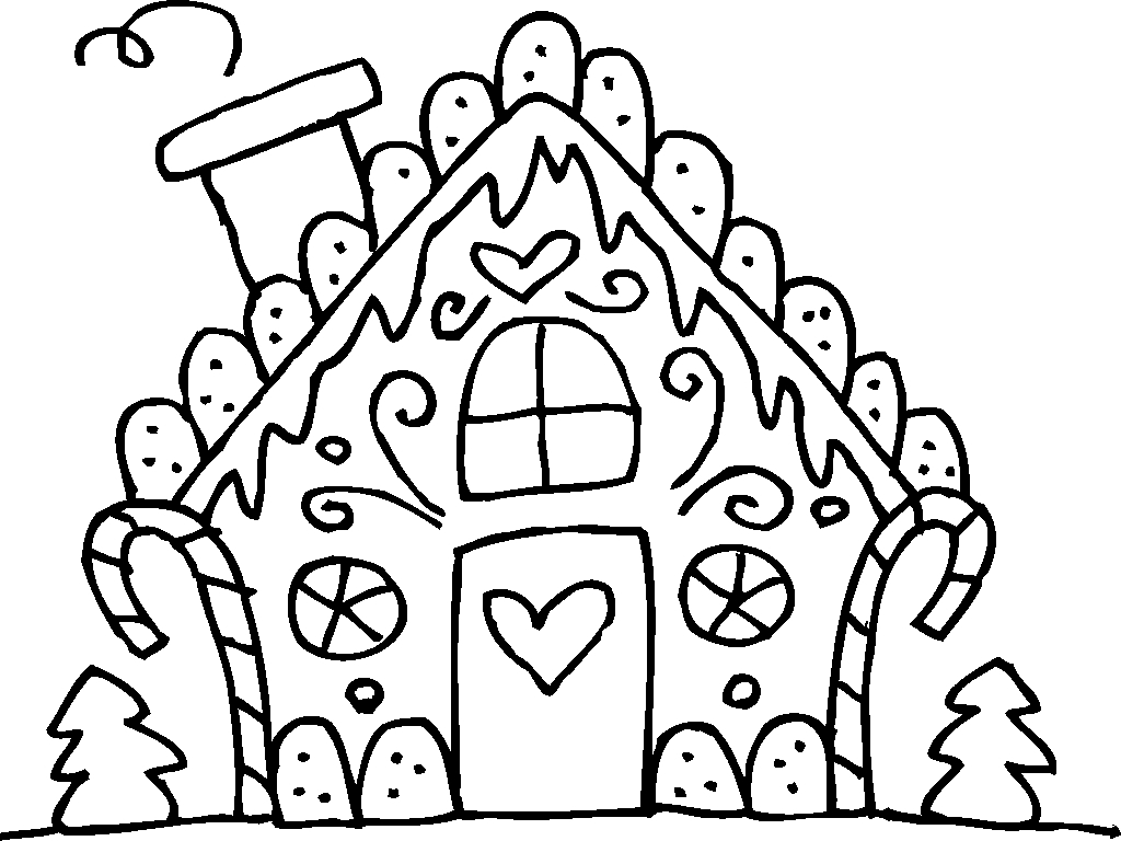 Gingerbread House Coloring Pages For Toddler