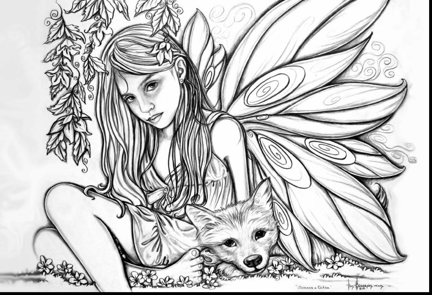 Good Adult Fairies Coloring Pages Printable With Printable