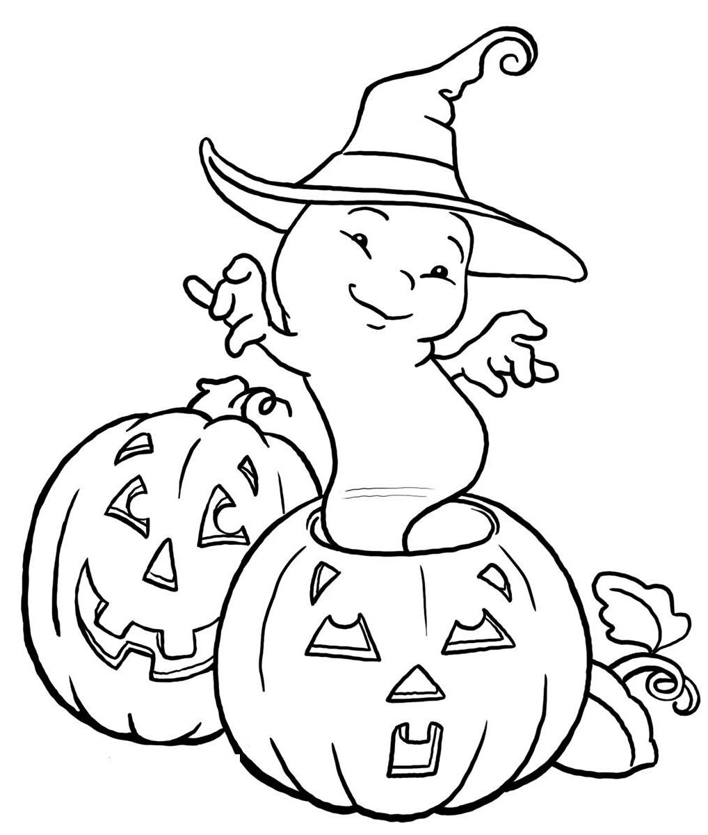 Halloween Ghost And Pumpkin Coloring Pages Kids