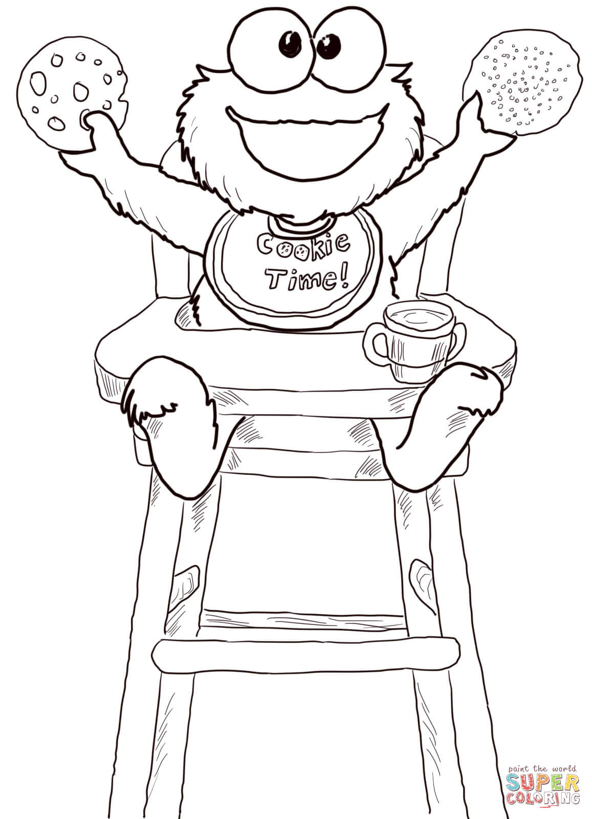 Cookie Time For Cookie Monster Coloring Page