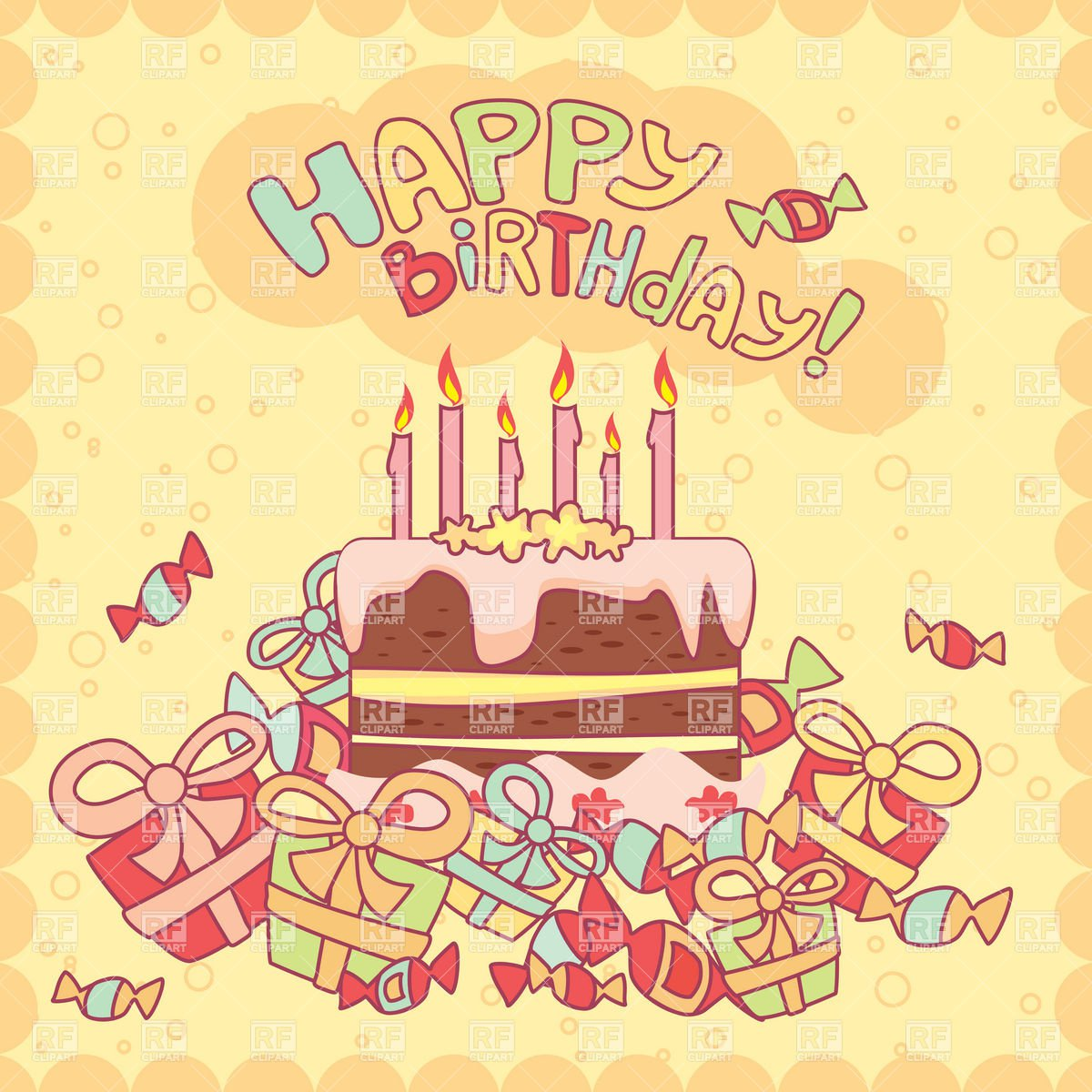 Happy Birthday Card With Cake, Candles And Gifts Vector Clipart