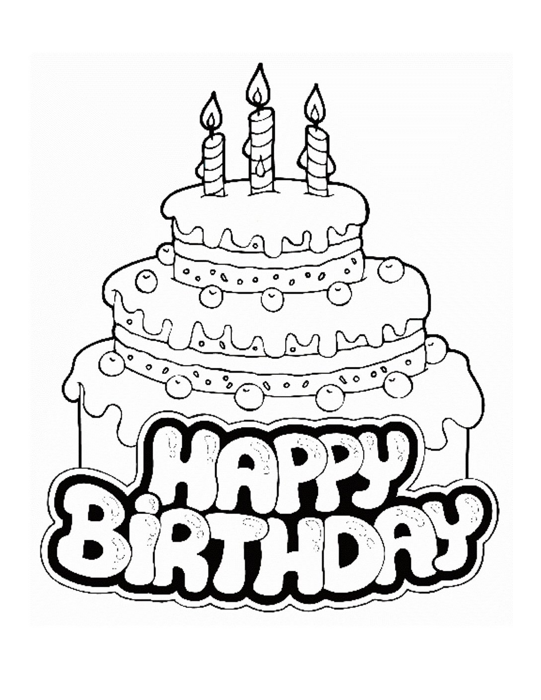 Happy Birthday Coloring Pages With Cake