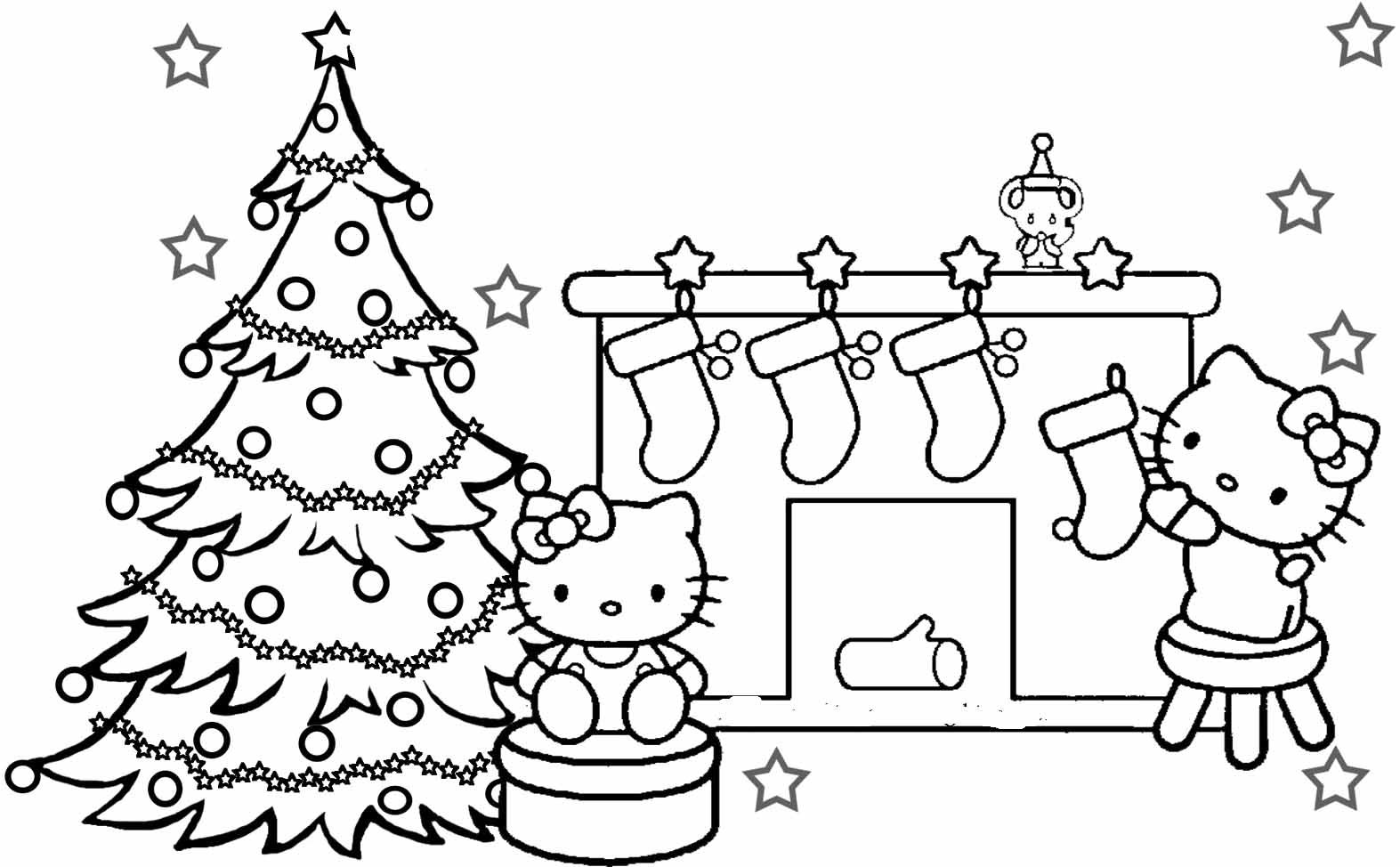 Kitty Coloring Pages Christmas