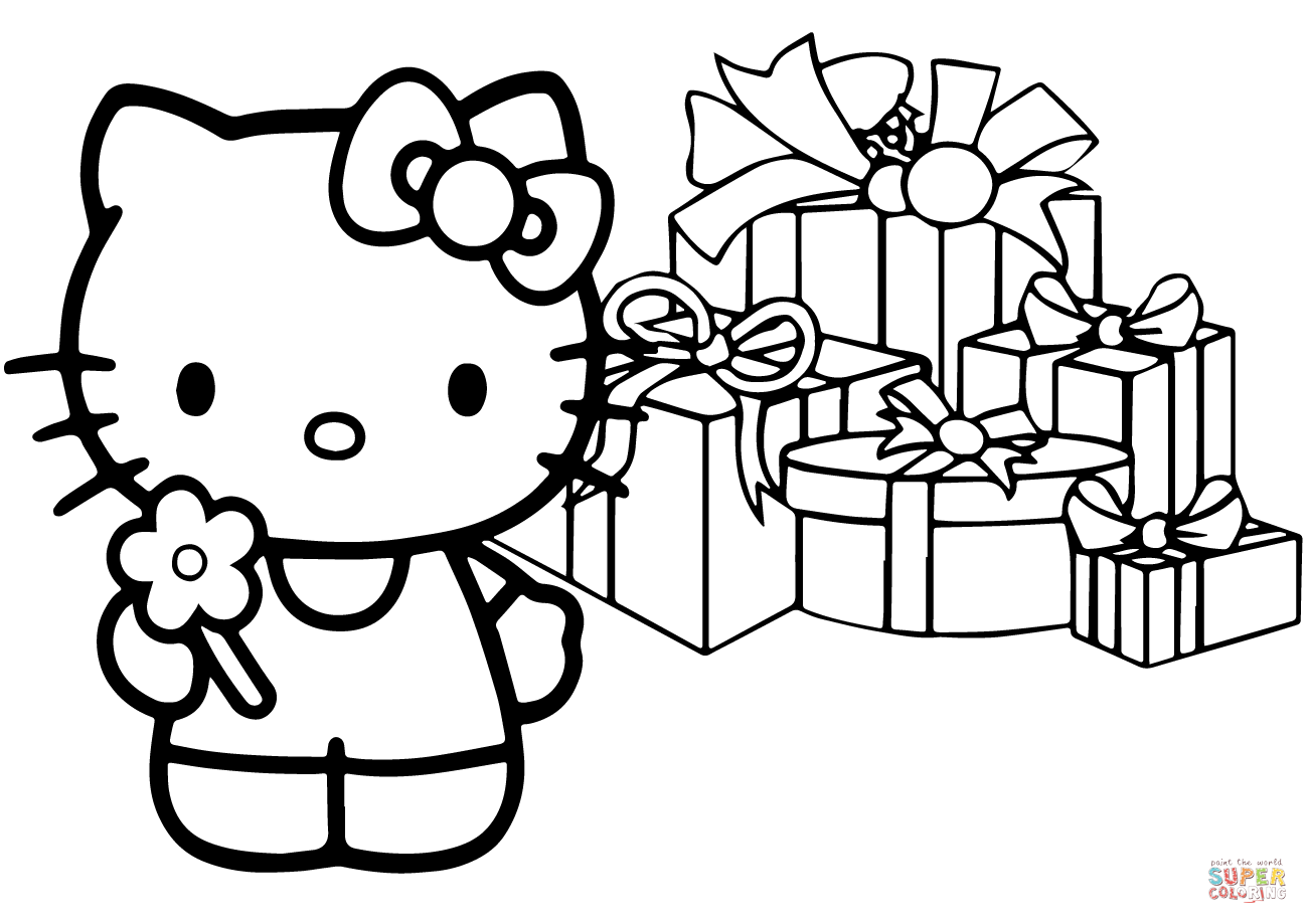 Hello Kitty Happy Christmas Coloring Page