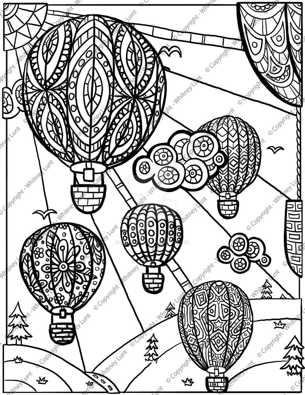 Hot Air Balloon Coloring Page By Cheekydesignz On Deviantart