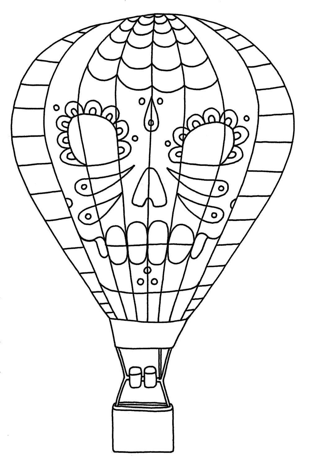 Hot Air Balloon Coloring Pages With Sugar Skull Images