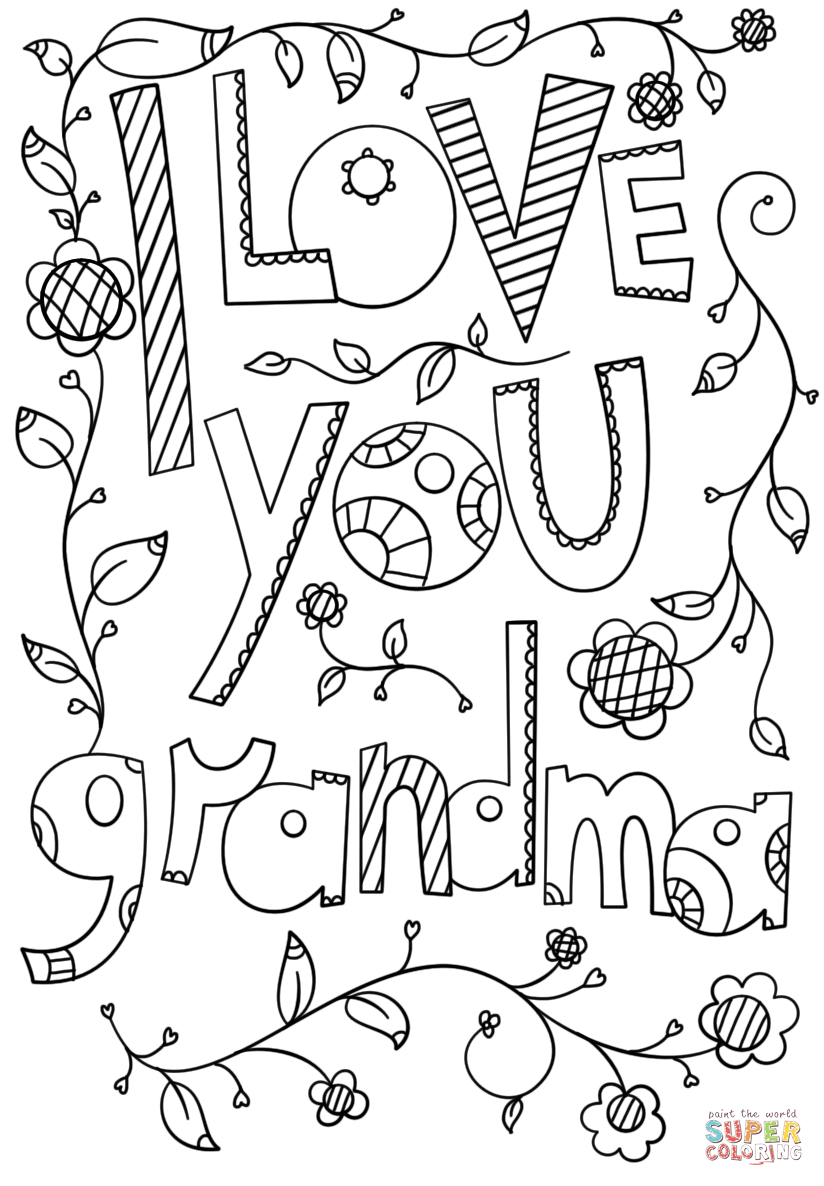 I Love You Grandma Doodle Coloring Page