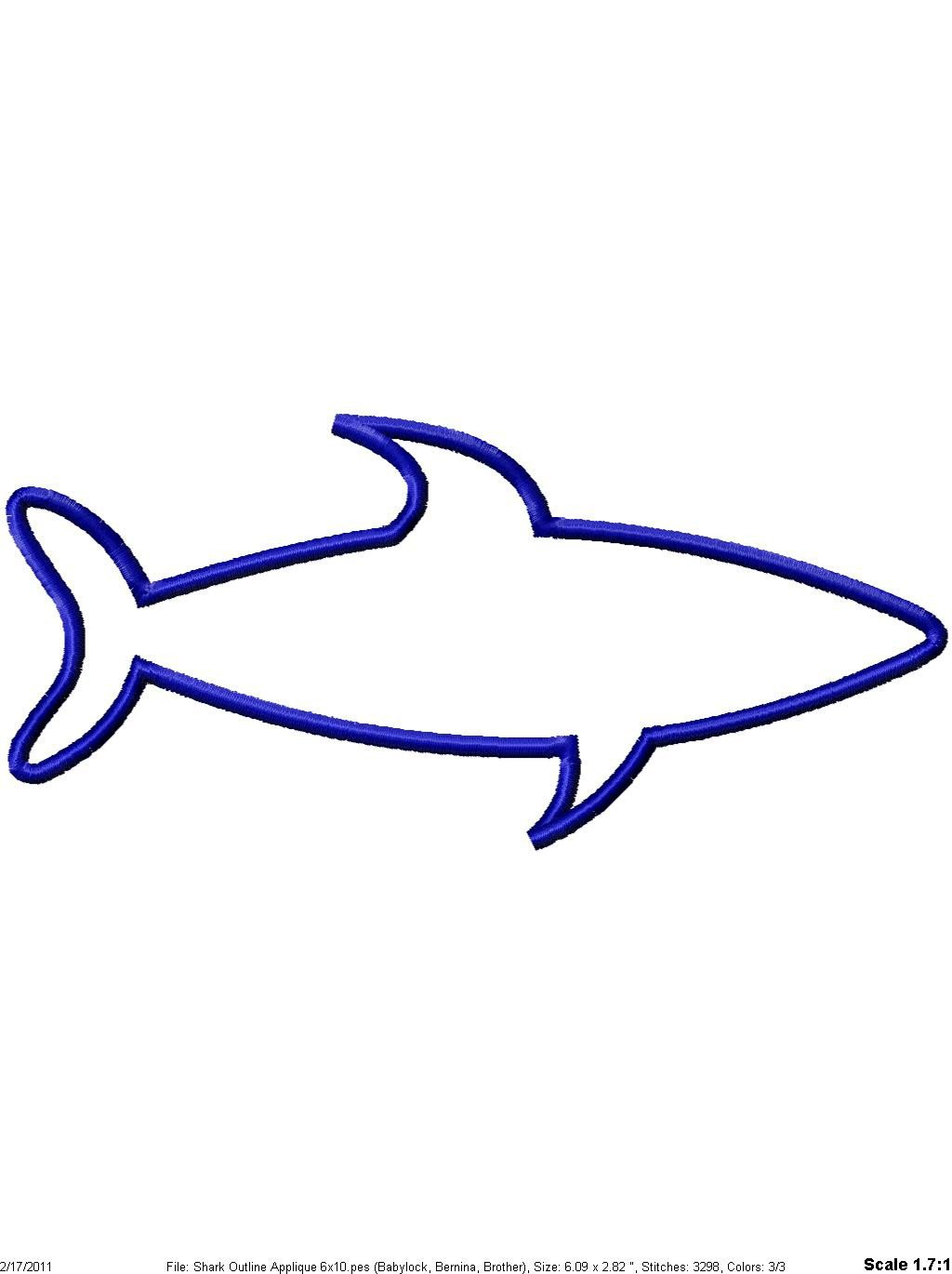 Shark Outline Machine Embroidery Applique Design