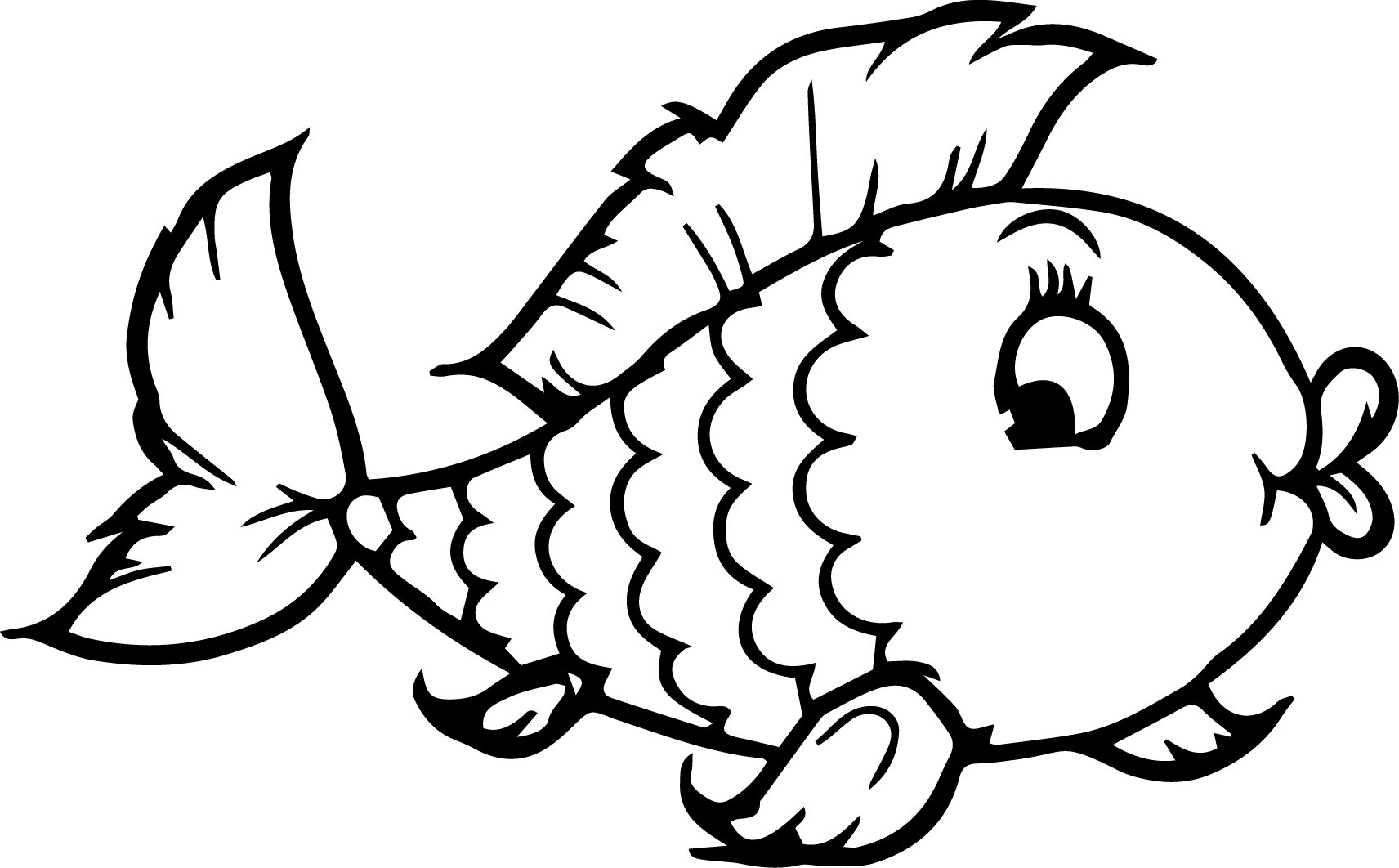 Image Cartoon Fish Coloring Pages 98 About Remodel Line Drawings