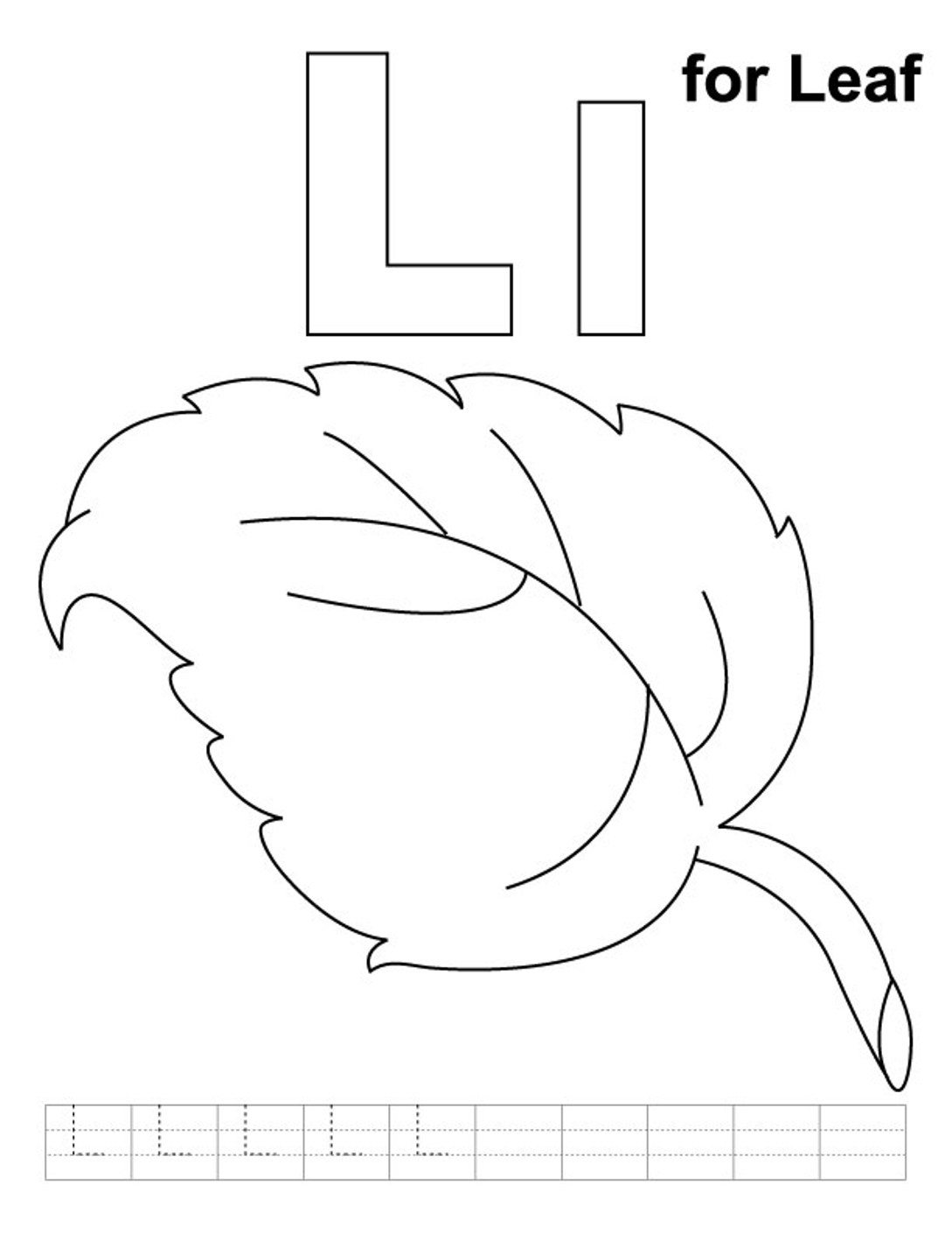 L Is For Leaf Alphabet Coloring Pages Free