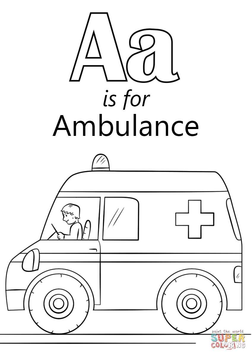 Letter A Is For Ambulance Coloring Page