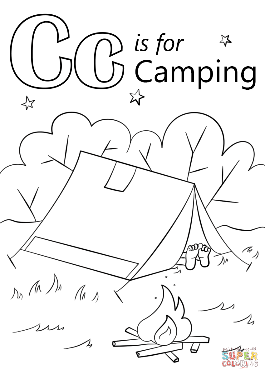 Letter C Is For Camping Coloring Page