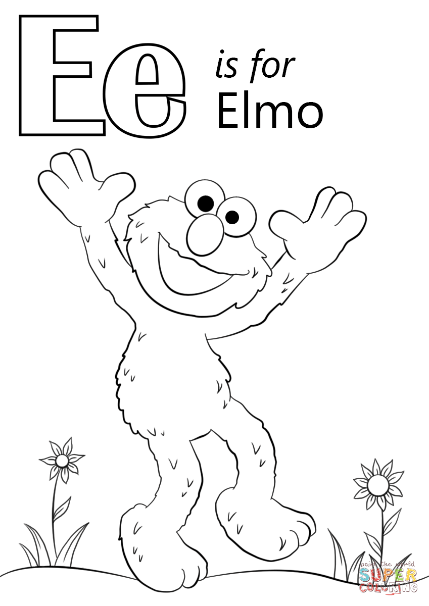 Letter E Is For Elmo Coloring Page