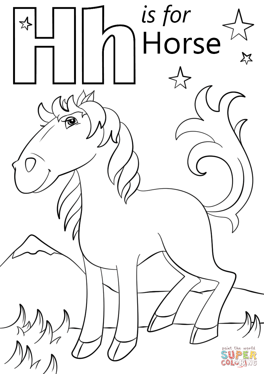 Letter H Is For Horse Coloring Page With Coloring Pages