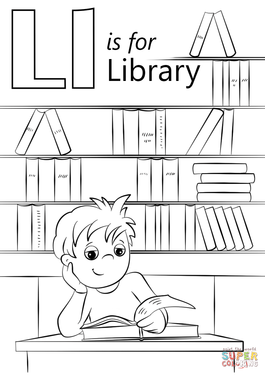 Letter L Is For Library Coloring Page