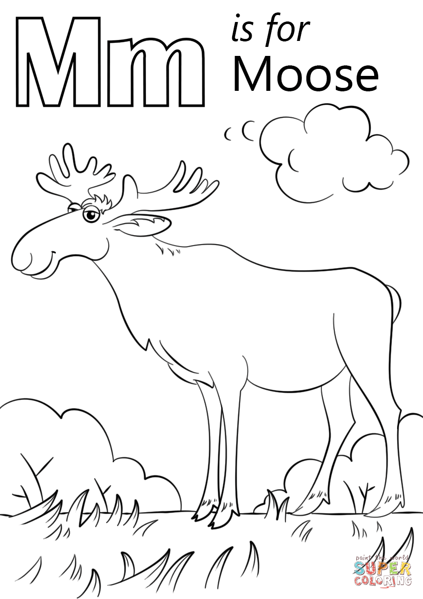 Letter M Is For Moose Coloring Page