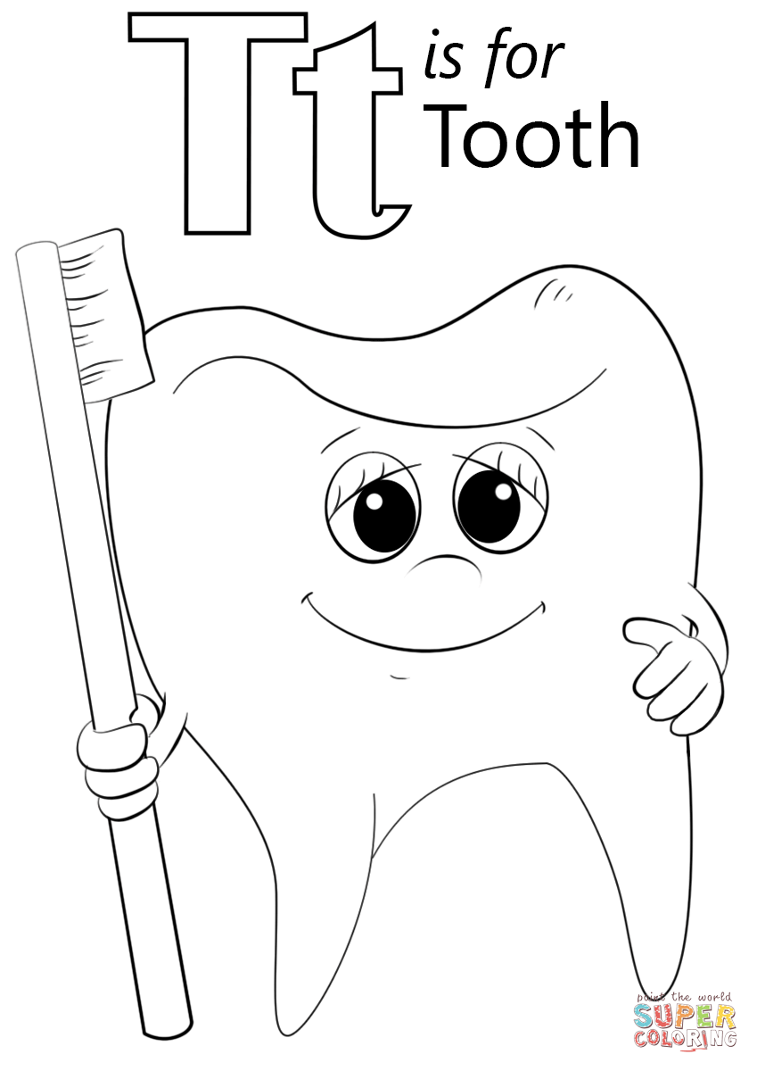 Letter T Is For Tooth Coloring Page