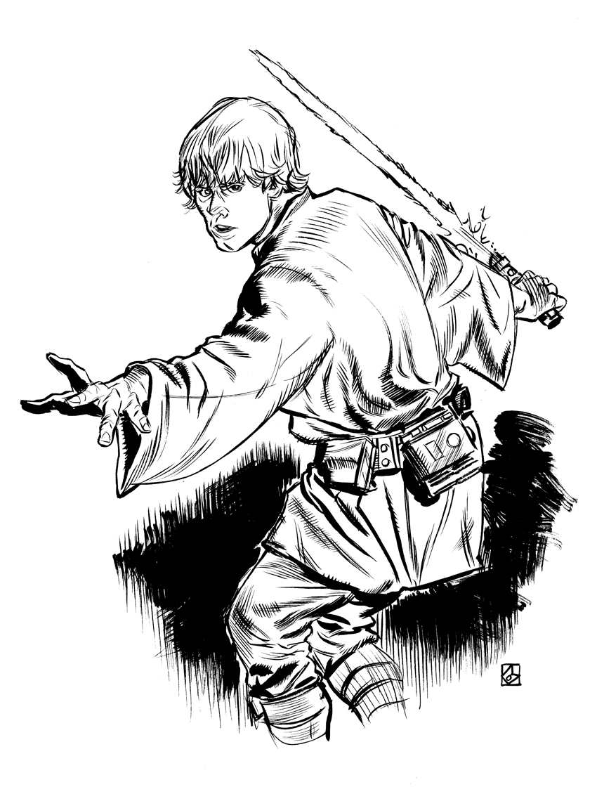 Luke Skywalker Clipart Black And White