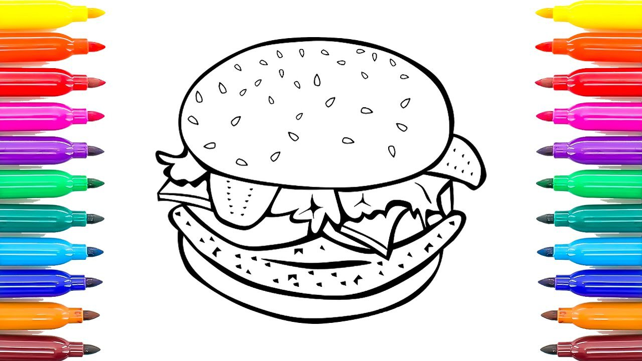 How To Draw Cheeseburger Coloring Book For Kids Learning Colors
