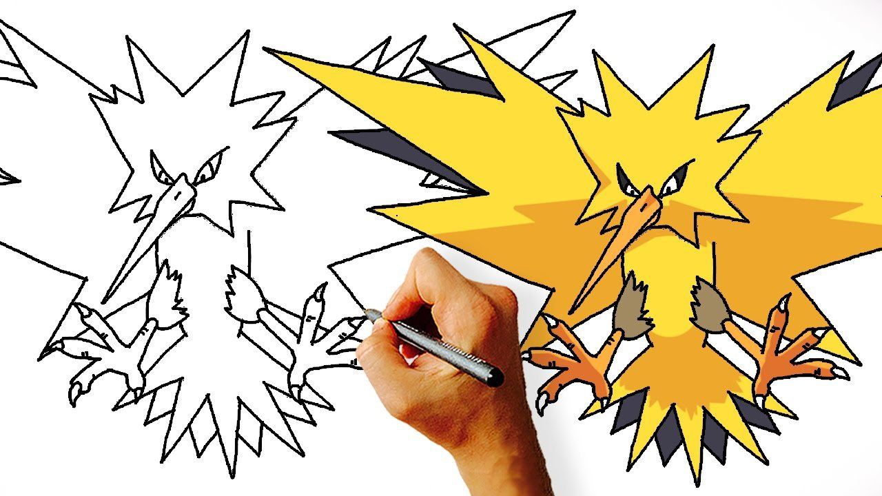 How To Draw Zapdos Step By Step (legendary Pokemon)