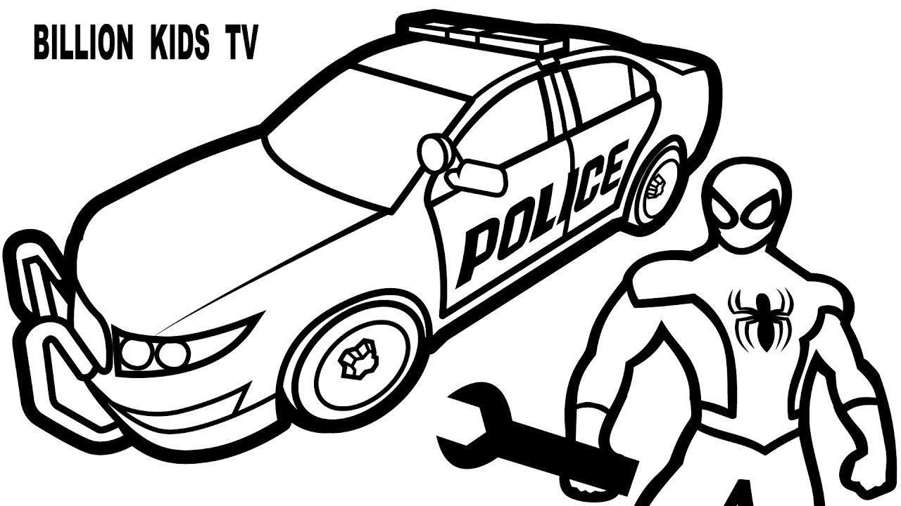 Spiderman Repair New Police Cars Coloring Pages For Kids Coloring