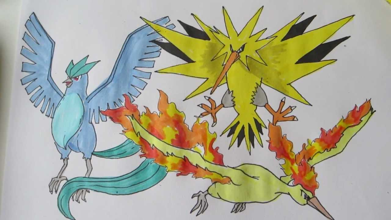 How To Draw Pokemon  Legendary Birds No 144 Articuno, No 145