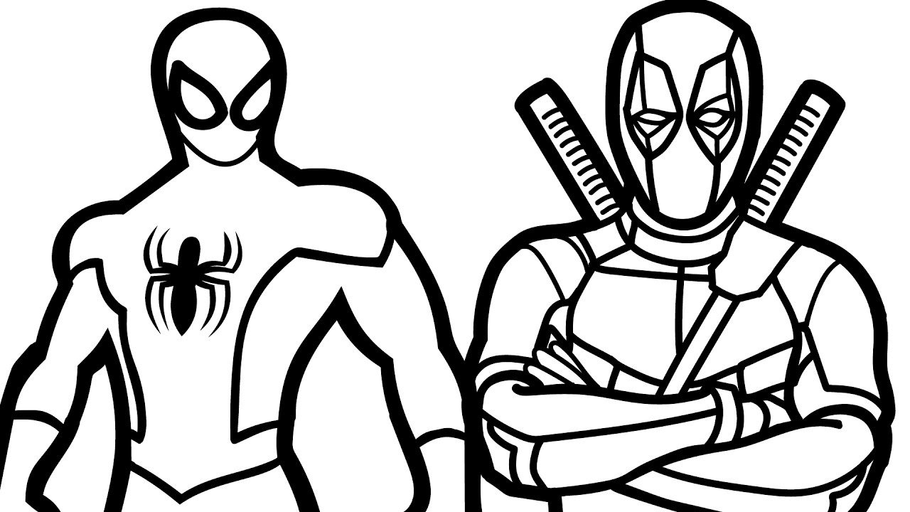 Spiderman And Deadpool Coloring Book Coloring Pages Kids Fun Art