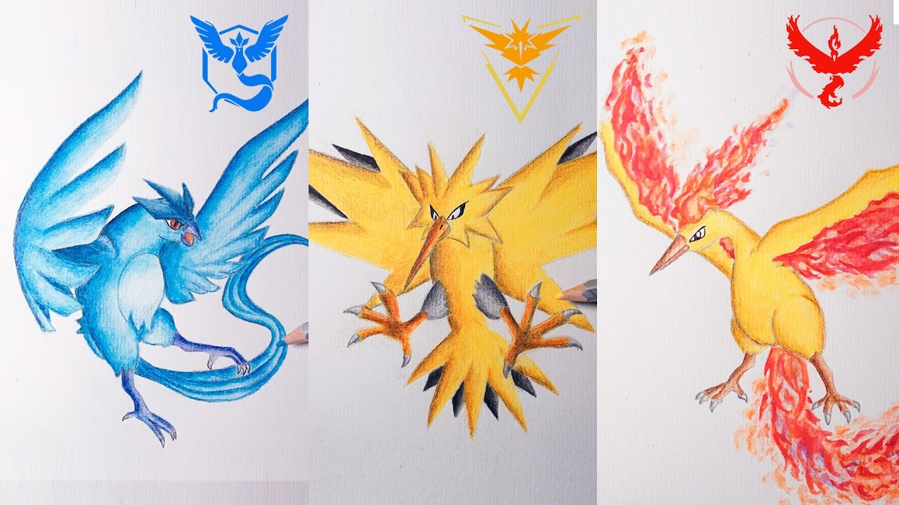 Legendary Pokemon Drawing ( Articuno, Zapdos, Moltres)