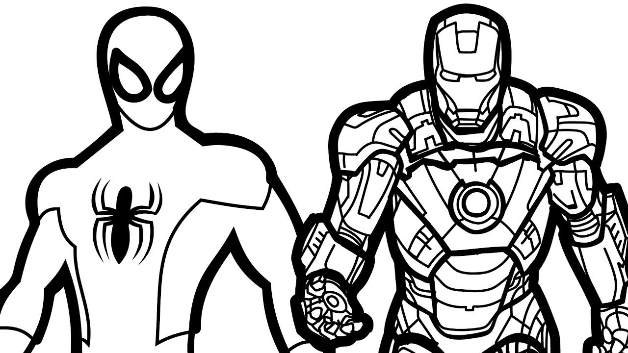 Spiderman And Iron Man Coloring Book Coloring Pages Kids Fun Art