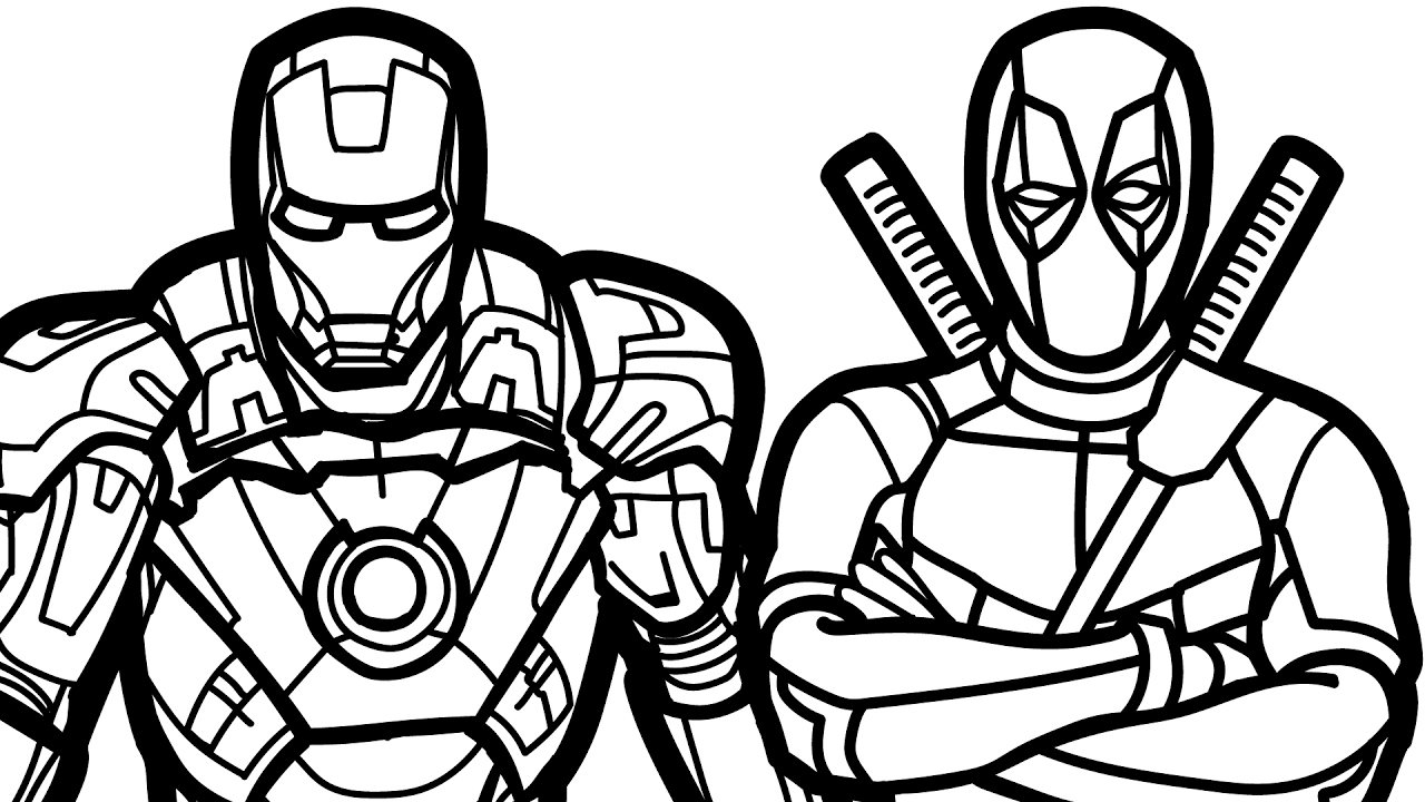 Iron Man And Deadpool Coloring Book Coloring Pages Kids Fun Art