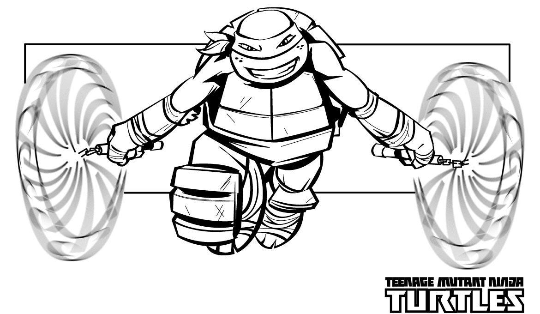 Mike Ninja Turtle Free Superhero Coloring Pages