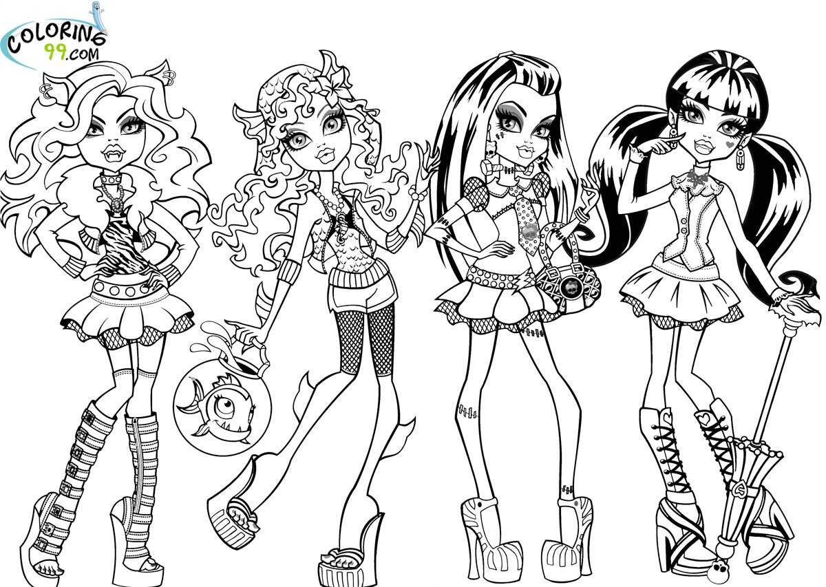 Monster High Mattel Coloring Pages Throughout Color
