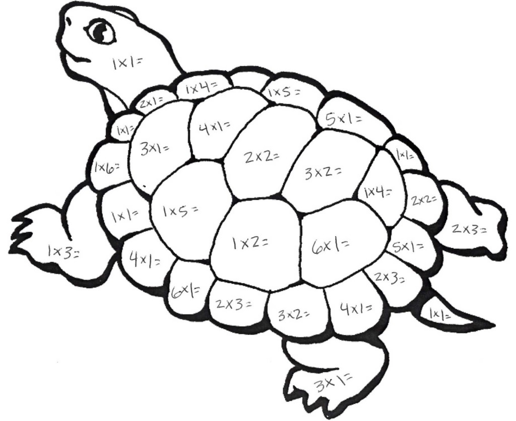 Multiplication Turtle Math Coloring Pages For