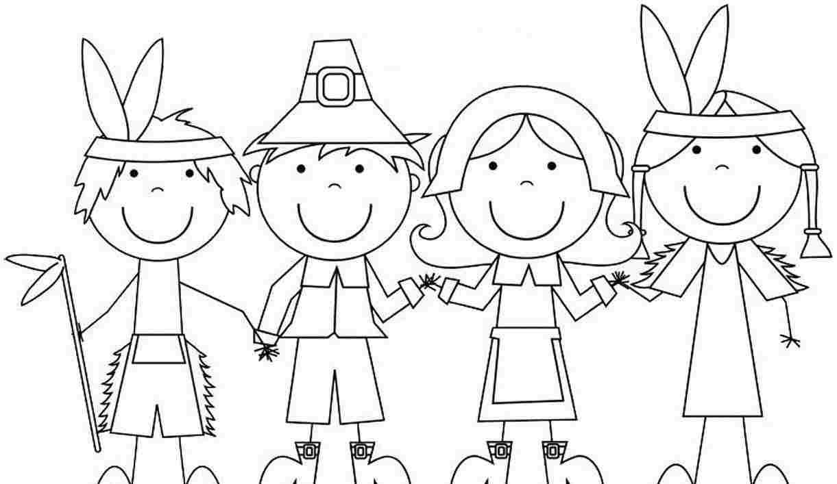 Online For Kid Pilgrim And Indian Coloring Pages Thanksgiving 81