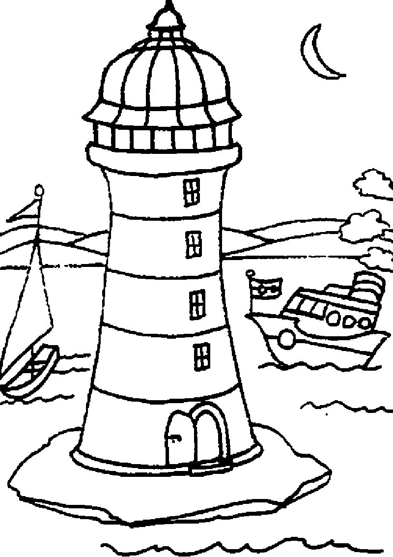 Online Lighthouse Coloring Pages 88 With Additional Free Coloring