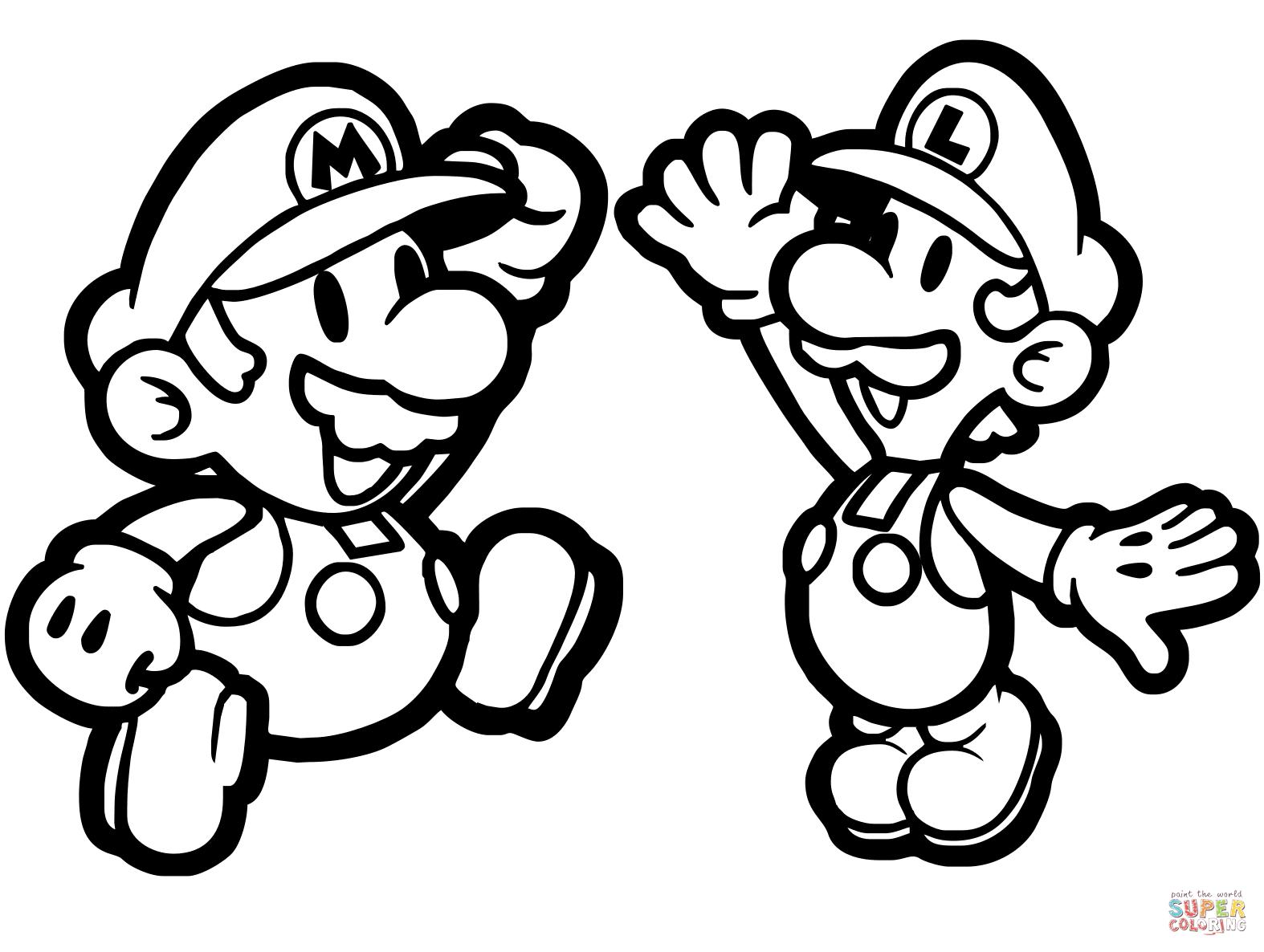 Paper Mario And Luigi Coloring Page