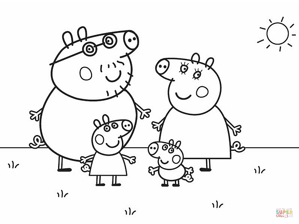 Peppa Pig's Family Coloring Page